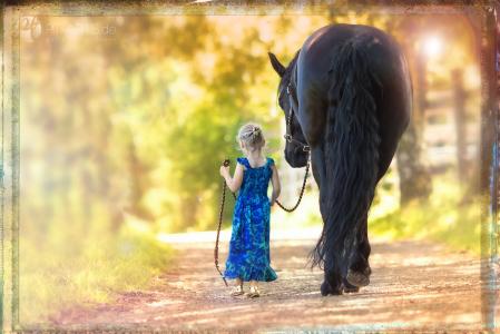 Pony, Pferde ,Pferdefotografie, equine Images, Warmblut, Lusitano, HengstFriesenstute Arijel und ihre kleine Freundin
